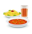 Set meal menu with soup pasta vector image vector image