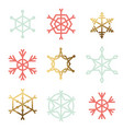 set nine snowflakes vector image