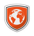shield insurance with world planet isolated icon vector image vector image