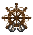 Ships helm with carved handles rope and anchors vector image vector image