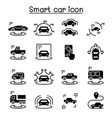 smart car icons set vector image