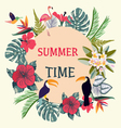 Summer Time Tropical Background With Tropical Plan vector image vector image