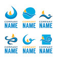 summer wave collection of logo emblemsstickers vector image vector image