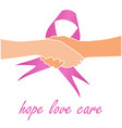 support for breast cancer sufferers- pink ribbon vector image vector image