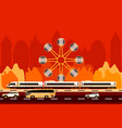 transport on the city and ferris wheel background vector image vector image