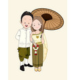 wedding cartoon bride and groom in thai dress vector image vector image