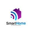 wifi house logo smart home tech logo house net vector image vector image
