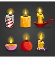 Set of burning candles vector image