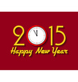 2015 Happy New Year background with clock vector image vector image