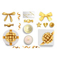 a gold objects set for luxury holidays vector image