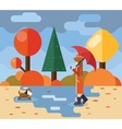 Autumn walk with dog puddles umbrella nature park vector image