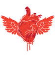 banner with red flying human heart with wings vector image vector image