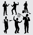 businessman boss and manager silhouette vector image vector image