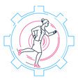 businesswoman running in a gear - line design vector image vector image