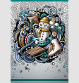 cartoon hand drawn doodles winter poster design vector image