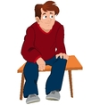 Cartoon man in red sweater and blue pants sitting vector image vector image