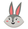 cartoon portrait gray hare isolated on vector image vector image