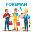 character foreman staff renovation team vector image