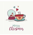 christmas holiday decoration cute cartoon card vector image