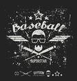 Emblem baseball superstar college team vector image
