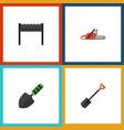 flat icon garden set of spade hacksaw trowel and vector image vector image
