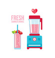 fresh strawberry smoothie and blender summer vector image vector image