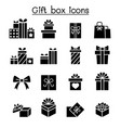 gift box icon set in flat style vector image
