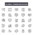 global communication line icons signs set vector image vector image