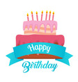 happy birthday ribbon cake background image vector image