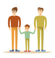 happy gay men posing with their child vector image vector image