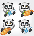 Icon set with panda vector image vector image