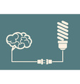 idea concept - light bulb connect to the brain vector image