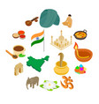 india isometric 3d icons set vector image