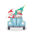 isolated with santa and piggy in retro car vector image