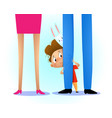 kid hiding behind the parents leg vector image