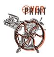 Letterpress overprint design Vintage vector image vector image