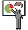 Man pointing at the pie chart vector image