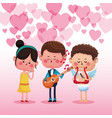 man singing to woman cute cartoons vector image vector image