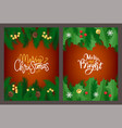 merry christmas lettering greeting card mistletoe vector image vector image
