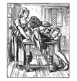 once a week drawing charles keene in 1859 vintage vector image vector image