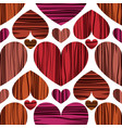 orange red and pink hearts with stripes vector image