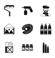 Paint drawing icons set simple style vector image