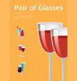 pair glasses poster design cocktail wine vector image vector image