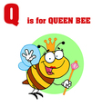 Queen Bee cartoon with letter vector image vector image