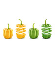 realistic green yellow bell peppers vector image
