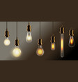 realistic vintage incandescent bulb lamp on wire vector image