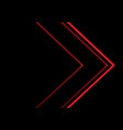 red light neon arrow direction on black vector image vector image