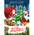 santa snowman christmas tree gifts xmas party vector image vector image