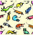 seamless pattern with doodle dachshund background vector image vector image