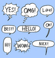 set hand drawn comic bubble speech with text vector image vector image